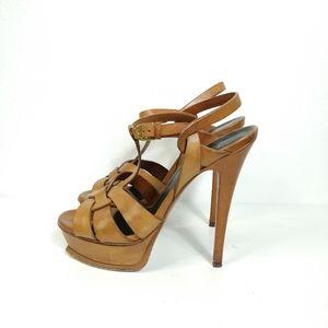YSL Tribute Leather Sandal Platform Heels